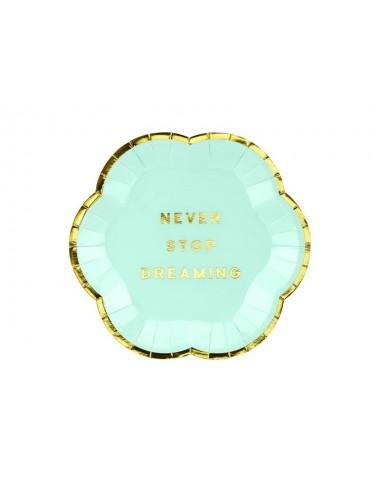 """Papieren bordjes """"Never stop dreaming"""" (6st)"""