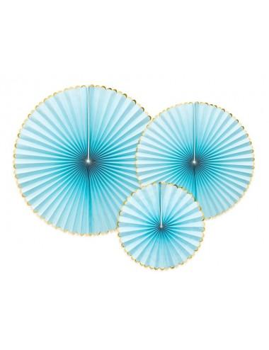 Papieren waaiers blauw gouden rand (3st)