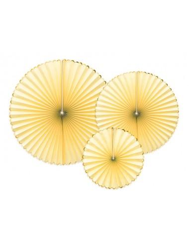 Papieren waaiers geel gouden rand (3st)