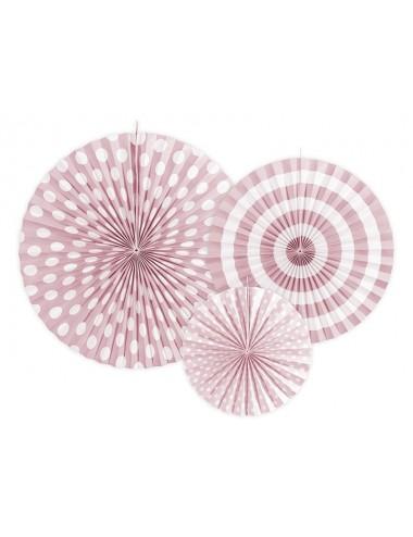 Papieren waaiers mix roze (3st)