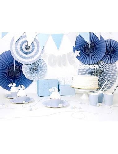 Papieren waaiers mix blauw...
