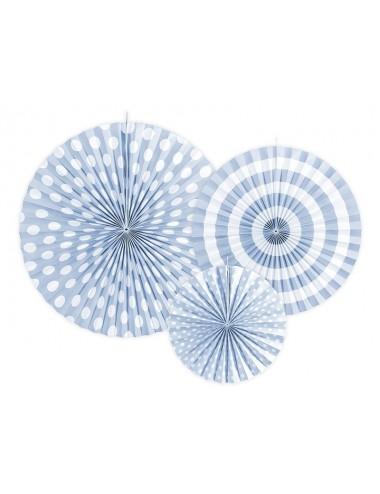 Papieren waaiers mix blauw (3st)