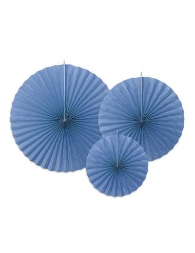 Papieren waaiers blauw (3st)