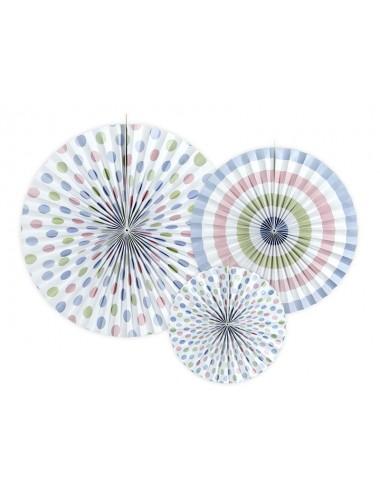 Papieren waaiers mix blauw/roze/groen (3st)