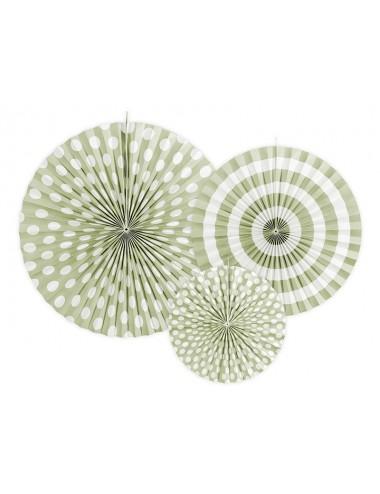 Papieren waaiers mix groen (3st)