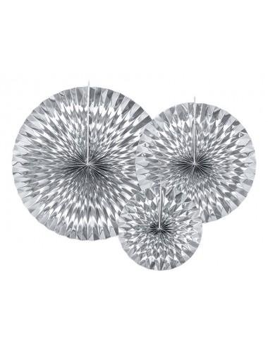 Papieren waaiers zilver (3st)