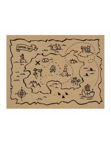 Papieren placemats schatkaart (30st)