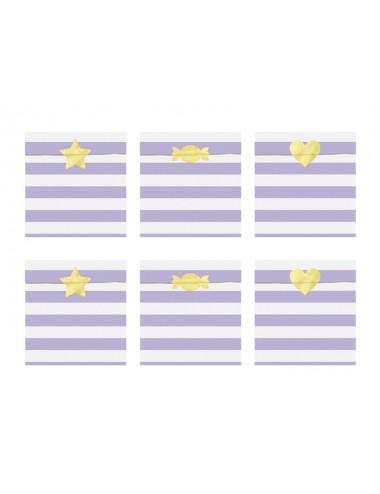 Uitdeelzakjes paars/wit/goud (6st)
