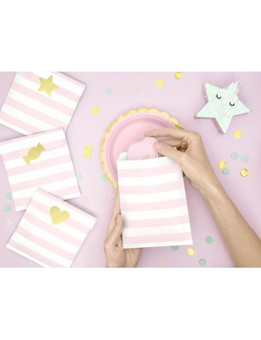Uitdeelzakjes roze/wit/goud (6st)