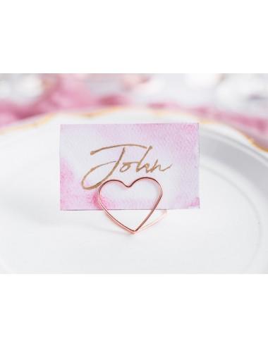 Plaatskaart houder hart roségoud (10st)