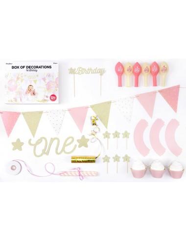 Feestdecoratie box 1ste verjaardag roze
