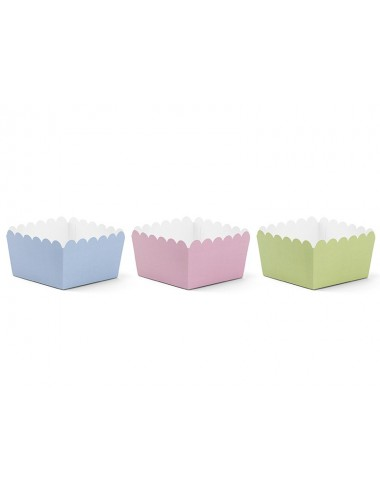 Bakjes mix blauw/roze/groen (6st)