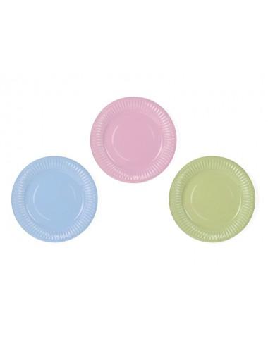 Papieren bordjes mix blauw/roze/groen (6st)