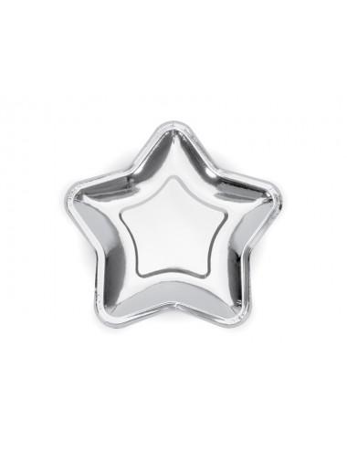 Papieren bordjes ster zilver (6st)