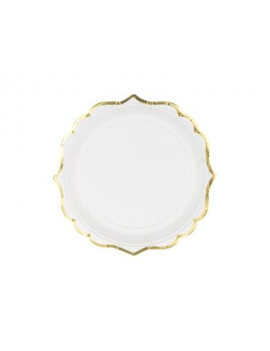 Papieren bordjes wit met gouden rand (6st)