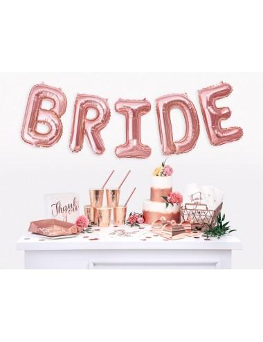 """Papieren bordjes rosegoud """"Bride Squad"""" (6st)"""