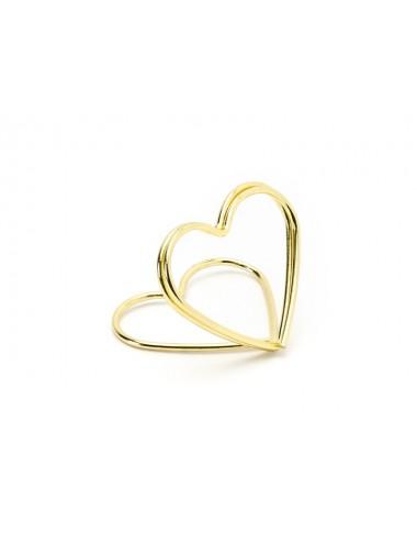 Plaatskaart houder hart goud (10st)