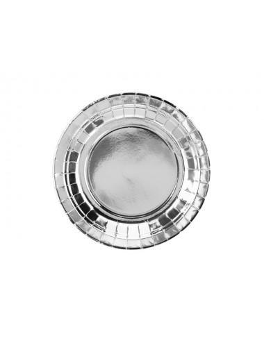 Papieren bordjes zilver (6st)