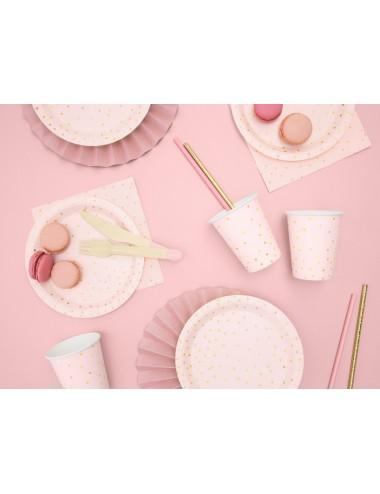 Papieren bordjes roze met gouden stippen (6st)