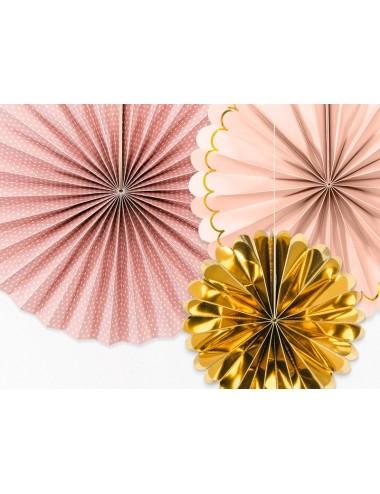 Papieren waaiers mix roze/goud (3st)