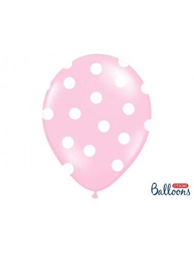 Ballonnen roze met witte stippen (6st)