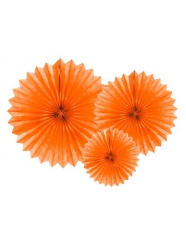 Papieren waaiers oranje (3st)