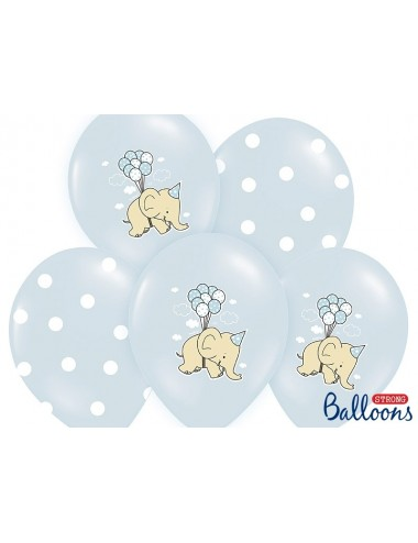 Ballonnen olifant blauw (6st)