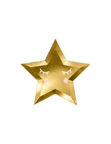 Papieren bordjes ster goud (6st)