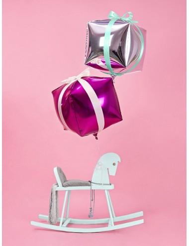 Folieballon kubus zilver