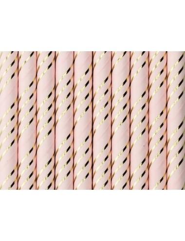 Papieren rietjes roze/goud (10st)