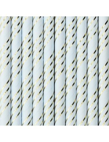 Papieren rietjes blauw/goud (10st)