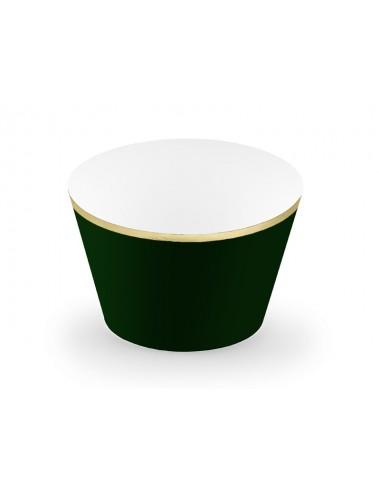 Groene Cupcake Wrappers met gouden rand (6st)