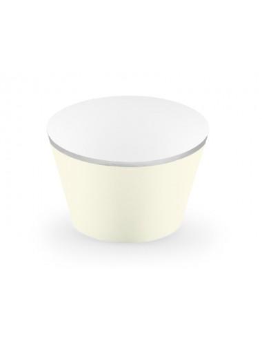 Beige Cupcake Wrappers met zilveren rand (6st)