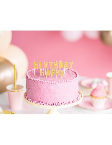 """Kaarsjes """"Happy Birthday"""" goud"""