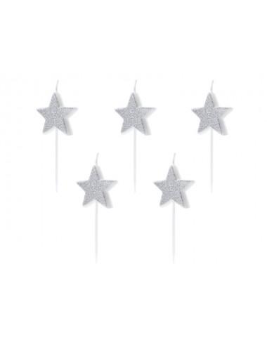 Kaarsjes sterren zilver