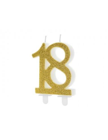 """Kaarsje cijfer goud """"18"""""""