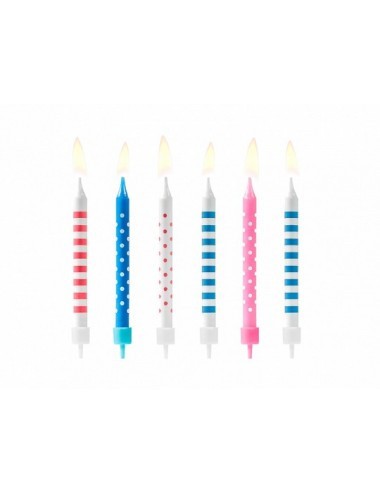 Kaarsjes mix blauw/roze (6st)