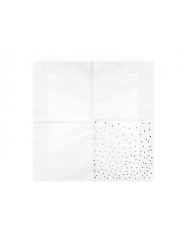 Witte servetten met rosegouden stippen (20st)
