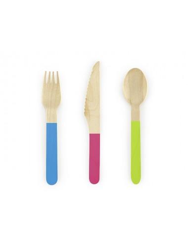 Houten bestek mix blauw/roze/groen (18st)