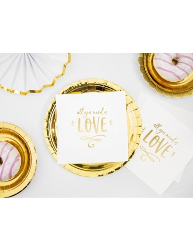 """Witte servetten """"All you need is love"""" (20st)"""