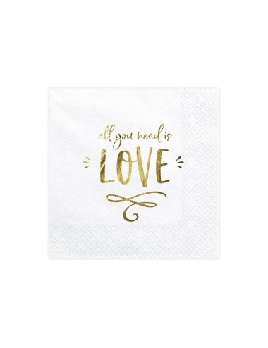 "Witte servetten ""All you need is love"" (20st)"
