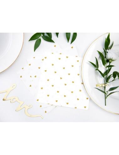 Witte servetten met gouden hartjes (20st)