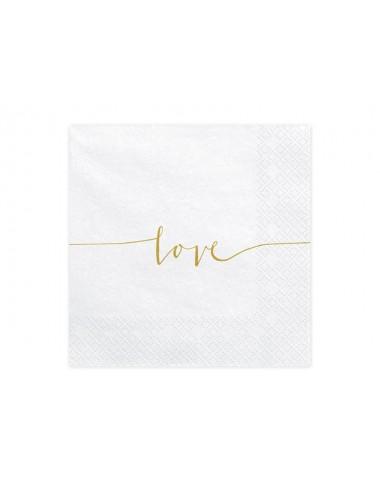 Witte servetten Love (20st)