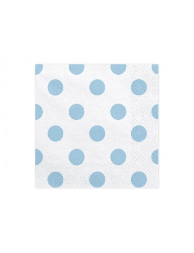 Witte servetten met blauwe stippen (20st)
