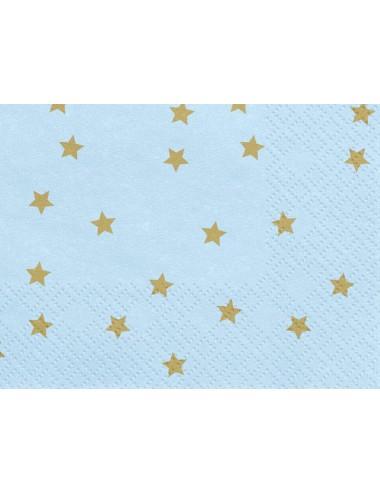Blauwe servetten met gouden sterren (20st)
