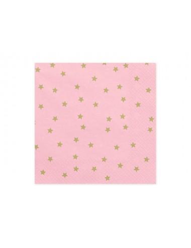 Roze servetten met gouden sterren (20st)