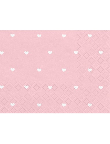 Roze servetten met witte hartjes (20st)
