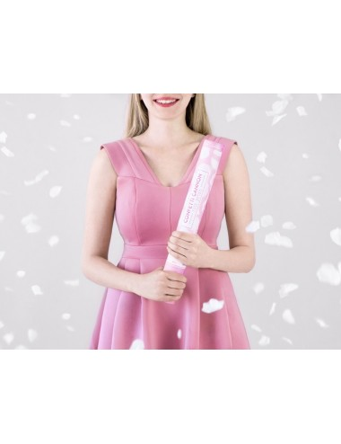 Confettikanon rozenblaadjes wit