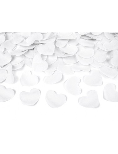 Confettikanon hartjes wit