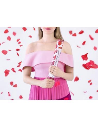 Confettikanon rozenblaadjes rood